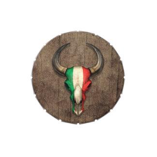 Cráneo italiano de Bull de la bandera en el efecto Latas De Dulces