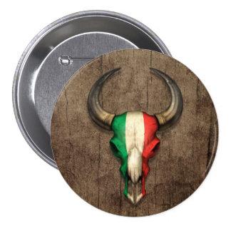 Cráneo italiano de Bull de la bandera en el efecto Pins