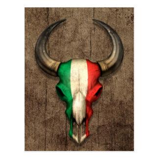 Cráneo italiano de Bull de la bandera en el efecto Tarjetas Postales