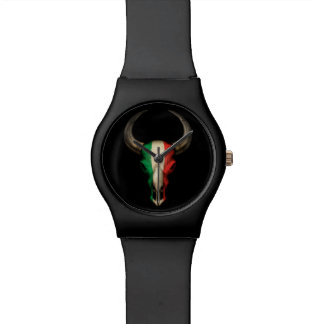 Cráneo italiano de Bull de la bandera Relojes De Pulsera