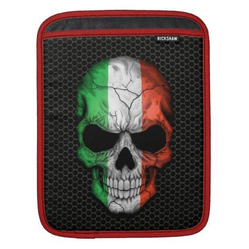 Cráneo italiano de la bandera en el gráfico de ace fundas para iPads