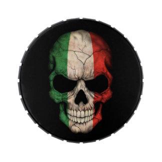 Cráneo italiano de la bandera en negro jarrones de dulces