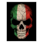 Cráneo italiano de la bandera en negro posters