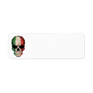 Cráneo italiano de la bandera etiquetas de remite