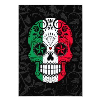 """Cráneo italiano del azúcar de la bandera con los invitación 3.5"""" x 5"""""""