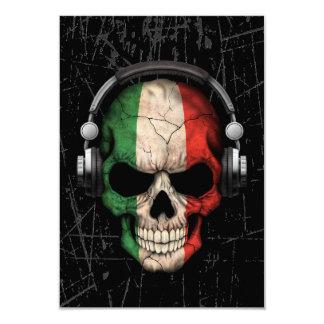 """Cráneo italiano rasguñado de DJ con los Invitación 3.5"""" X 5"""""""