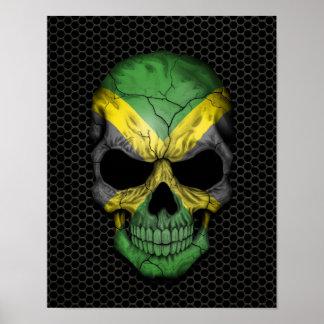 Cráneo jamaicano de la bandera en el gráfico de ac impresiones