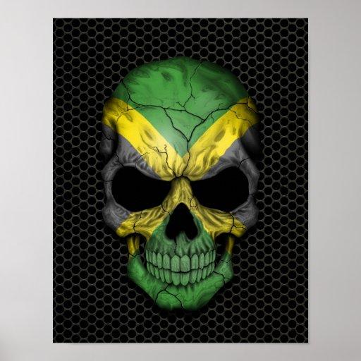 Cráneo jamaicano de la bandera en el gráfico de ac póster