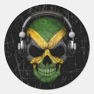 Cráneo jamaicano rasguñado de DJ con los Pegatina Redonda
