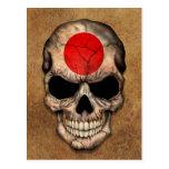 Cráneo japonés envejecido y llevado de la bandera tarjetas postales