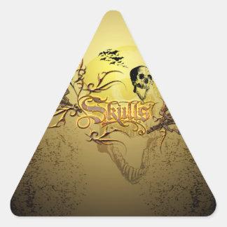 Cráneo la palabra pegatina triangular