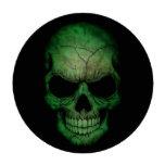 Cráneo libio de la bandera en negro juego de fichas de póquer