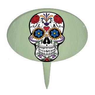 Cráneo lindo con diseño del arte de las flores figuras para tartas