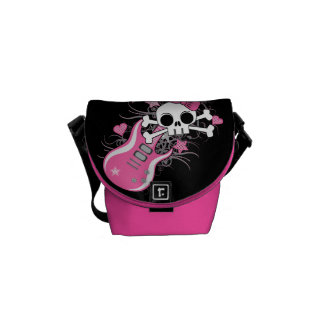Cráneo lindo con la guitarra rosada bolsas de mensajeria