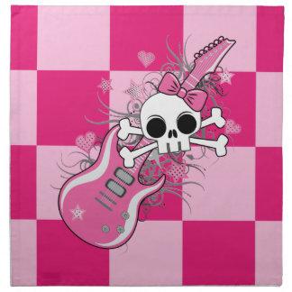 Cráneo lindo con la guitarra rosada servilletas de papel