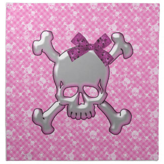 Cráneo lindo con las servilletas del rosa de la ci