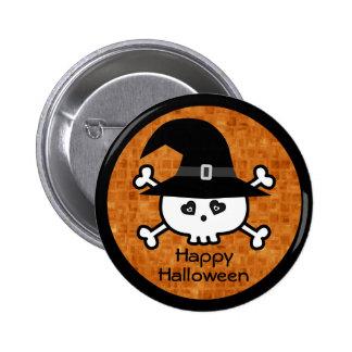 Cráneo lindo de Halloween del dibujo animado con e Pins