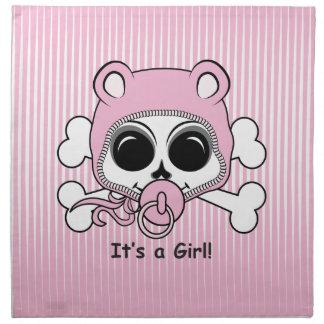 Cráneo lindo de la niña servilletas imprimidas