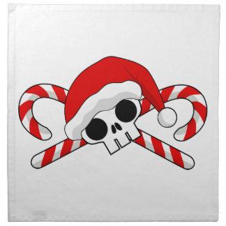 Cráneo lindo de Santa con los bastones de caramelo Servilleta