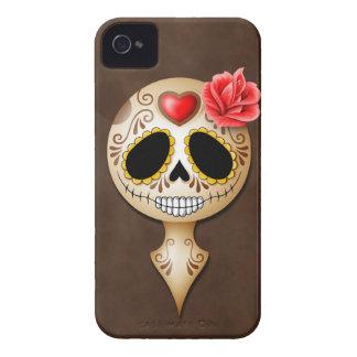 Cráneo lindo del azúcar de Brown iPhone 4 Fundas