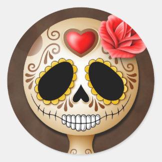 Cráneo lindo del azúcar de Brown Pegatinas Redondas
