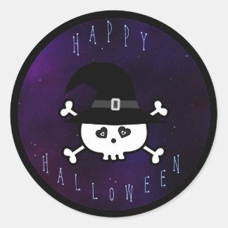Cráneo lindo del feliz Halloween con el gorra de Pegatina Redonda