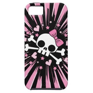 Cráneo lindo y bandera pirata iPhone 5 carcasa