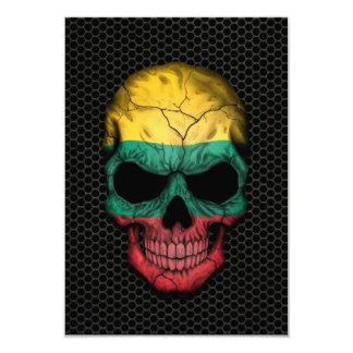 Cráneo lituano de la bandera en el gráfico de invitación 8,9 x 12,7 cm