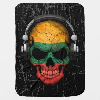 Cráneo lituano rasguñado de DJ con los auriculares Mantas De Bebé