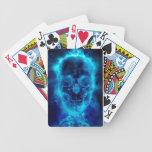 Cráneo llameante azul baraja cartas de poker