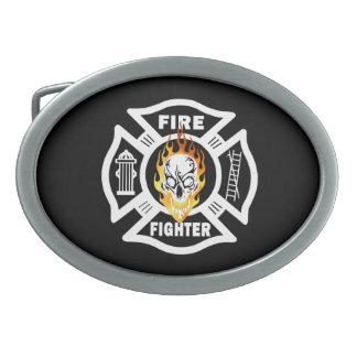 Cráneo llameante del bombero hebilla de cinturon oval