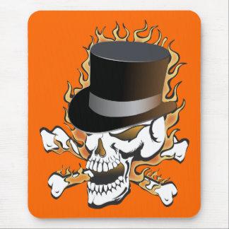 Cráneo llameante del sombrero de copa tapetes de ratón