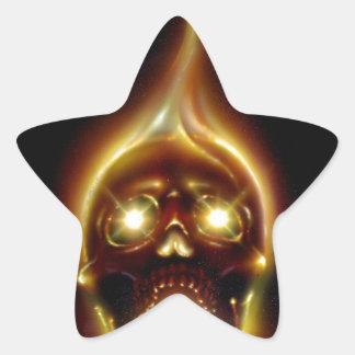 Cráneo llameante pegatina en forma de estrella