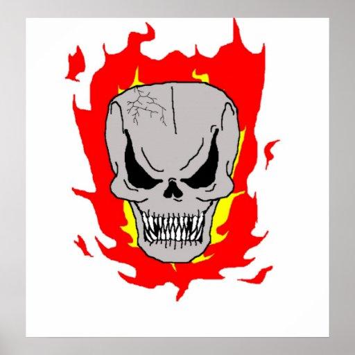Cráneo llameante póster