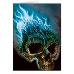 Cráneo llameante tarjeta de felicitación