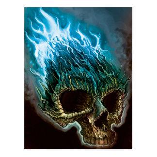 Cráneo llameante tarjeta postal