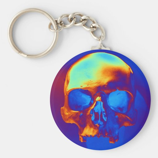Cráneo Llavero Redondo Tipo Pin