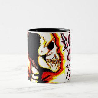 """Cráneo loco """"taza """" taza de dos tonos"""