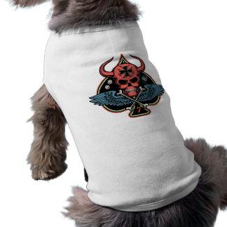 Cráneo maltés con alas afortunado del diablo de es playera sin mangas para perro