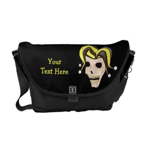 Cráneo malvado del bufón (amarillo) bolsa de mensajería