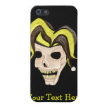 Cráneo malvado del bufón (amarillo) iPhone 5 carcasa