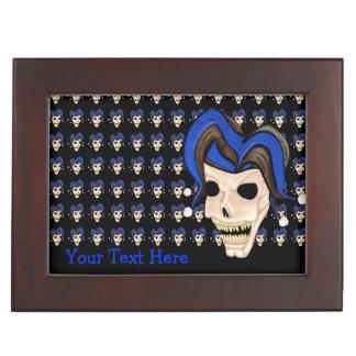 Cráneo malvado del bufón (azul) cajas de recuerdos