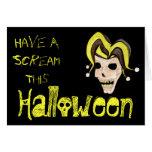 Cráneo malvado del bufón Halloween (amarillo) Tarjeta De Felicitación