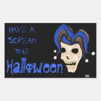 Cráneo malvado del bufón Halloween azul Rectangular Pegatina