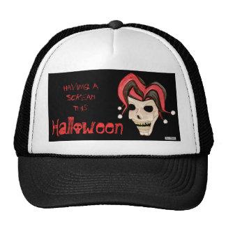 Cráneo malvado del bufón Halloween (rojo) Gorro De Camionero