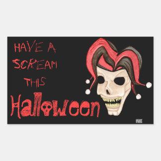 Cráneo malvado del bufón Halloween rojo Rectangular Altavoces