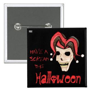 Cráneo malvado del bufón Halloween (rojo) Pin Cuadrada 5 Cm