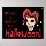 Cráneo malvado del bufón Halloween (rojo) Posters