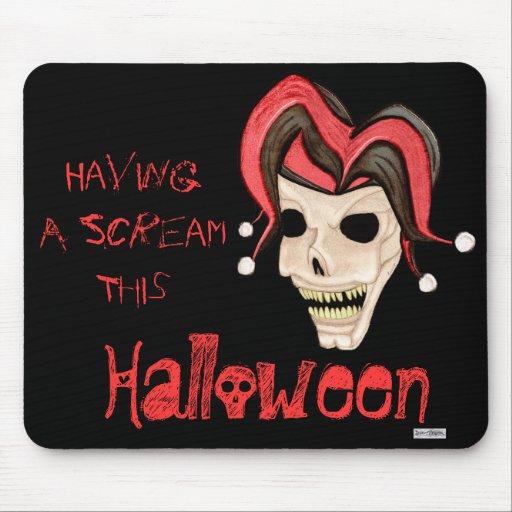 Cráneo malvado del bufón Halloween (rojo) Alfombrilla De Ratones