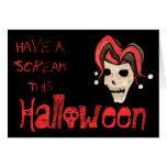 Cráneo malvado del bufón Halloween (rojo) Tarjeta